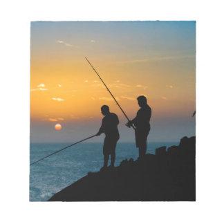 Two Men Fishing at Shore Notepad