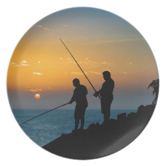 Two Men Fishing at Shore Party Plates
