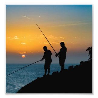 Two Men Fishing at Shore Photo Art