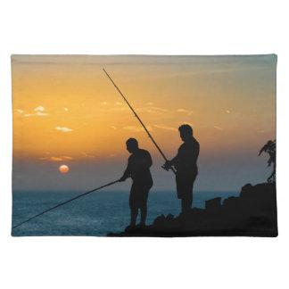 Two Men Fishing at Shore Place Mat