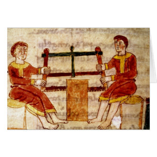 Two Men Sawing Wood, from 'De Universo' Card