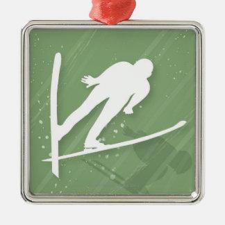 Two Men Ski Jumping Metal Ornament