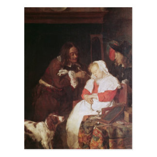 Two Men with a Sleeping Woman, c.1655-60 Postcard
