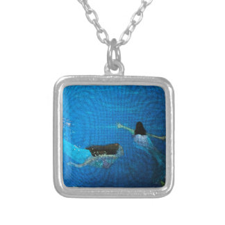 Two Mermaids Swimming Silver Plated Necklace