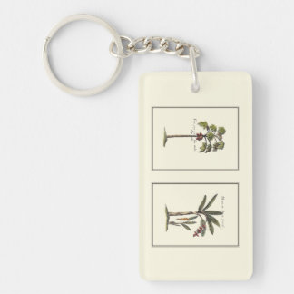 Two Miniature Framed Palm Trees Double-Sided Rectangular Acrylic Key Ring