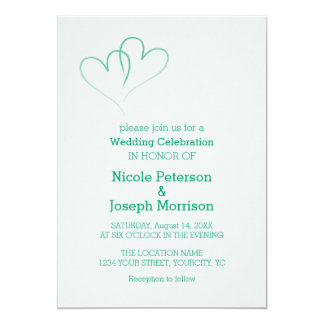 Two Mint Hearts Intertwined Card