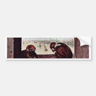 Two Monkeys By Bruegel D. Ä. Pieter (Best Quality) Bumper Stickers