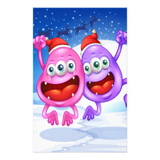 Two monsters celebrating christmas customized stationery