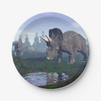 Two nedoceratops/diceratops dinosaurs walking 7 inch paper plate