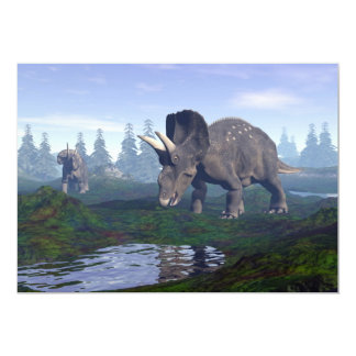Two nedoceratops/diceratops dinosaurs walking card