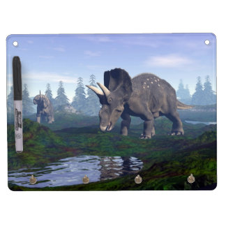Two nedoceratops/diceratops dinosaurs walking dry erase board with key ring holder
