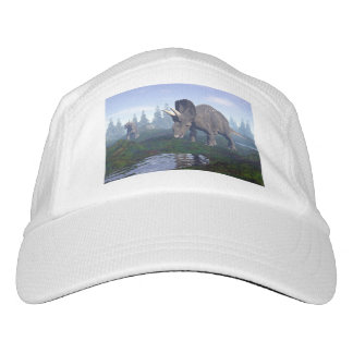Two nedoceratops/diceratops dinosaurs walking hat