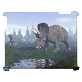 Two nedoceratops/diceratops dinosaurs walking iPad cases
