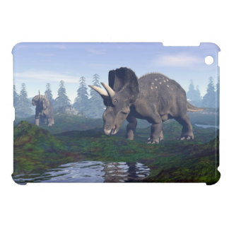Two nedoceratops/diceratops dinosaurs walking iPad mini cases