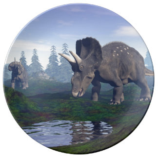 Two nedoceratops/diceratops dinosaurs walking porcelain plate