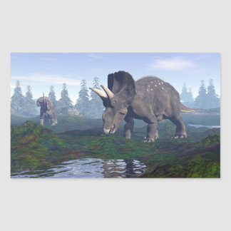 Two nedoceratops/diceratops dinosaurs walking rectangular sticker