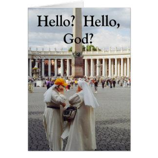 Two Nuns call God Card