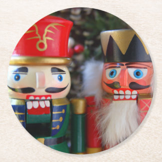 Two nutcrackers round paper coaster