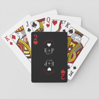 two of hearts wedding love monogram poker deck