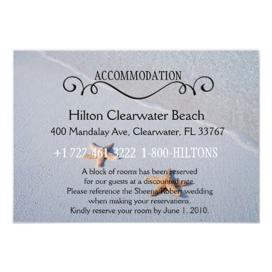 Two of Us | Beach Wedding Accommodation Directions Card