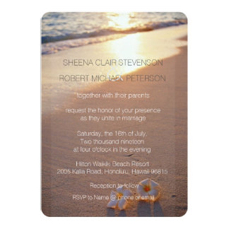 "Two of us / Plumeria Beach Sunset Wedding Invites 5"" X 7"" Invitation Card"