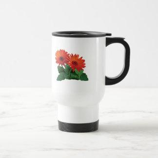 Two Orange Gerbera Daisies Coffee Mugs