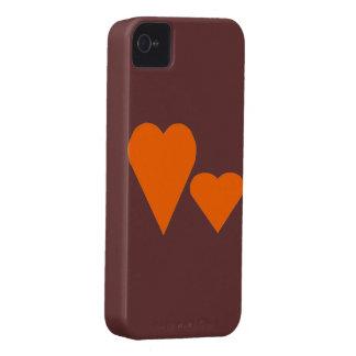 Two Orange Love hearts iPhone 4 Cases