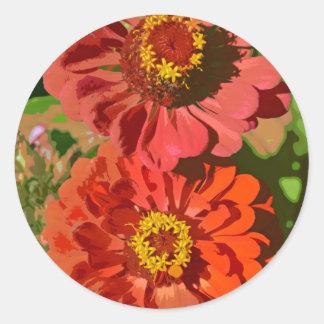 Two orange zinnia flowers in bloom classic round sticker