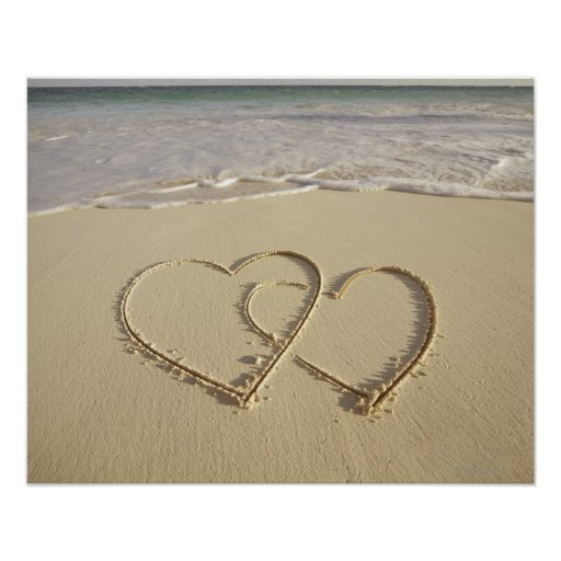 Two overlying hearts drawn on the beach print
