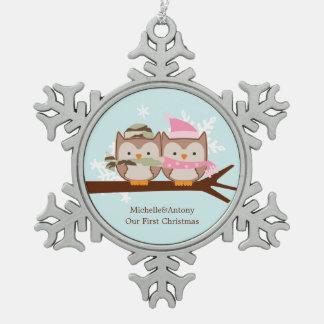 Two Owls Military Themed Christmas Snowflake Pewter Christmas Ornament