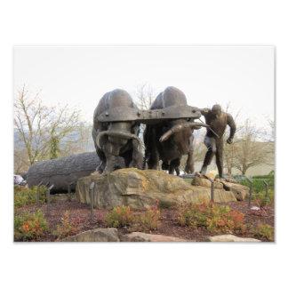 Two Oxen Pulling a Log Bronze Sculpture Art Photo
