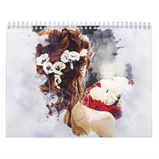 Two page medium white calendar with bride image.
