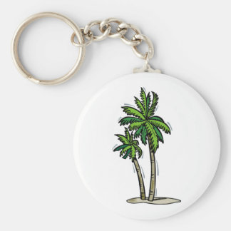 Two Palm Trees Basic Round Button Key Ring