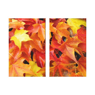 Two Panel Canvas Photography Autumn Leaves Stretched Canvas Print