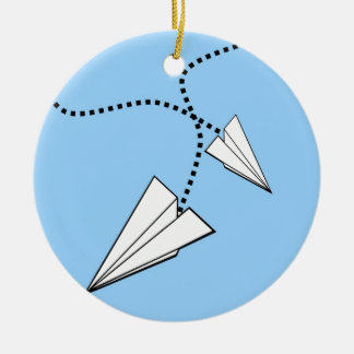 Two Paper Airplanes Ceramic Ornament