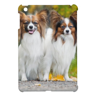 Two Papillon dogs in autumn iPad Mini Cover