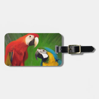 Two Parrots and White Roses Luggage Tag