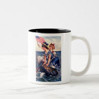 Two Patriotic Girls Coffee Mug