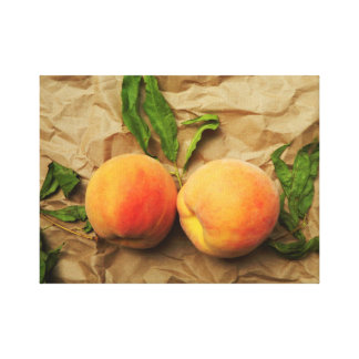 Two peaches. Conversation. Canvas Print