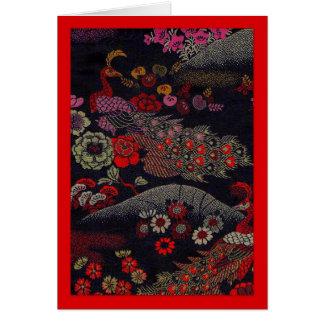 Two Peacocks on Silk Obi Fabric Card