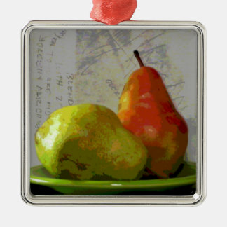 TWO PEARS METAL ORNAMENT