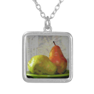 TWO PEARS SILVER PLATED NECKLACE