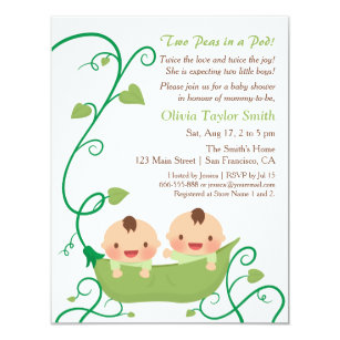 Two peas in a pod invitations announcements zazzle two peas in a pod baby shower invitations filmwisefo Image collections