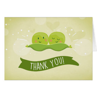 Two peas in a pod Baby shower Thank you card Twin