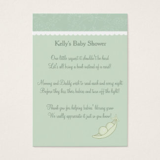 Two Peas In A Pod Book Request Business Card