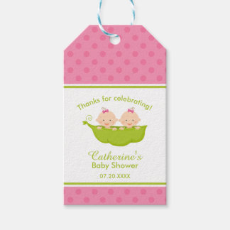 Two Peas in  a Pod, Pink Twins Gift Tags