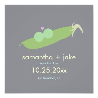 Two Peas in a Pod Save the Date: Gray 13 Cm X 13 Cm Square Invitation Card