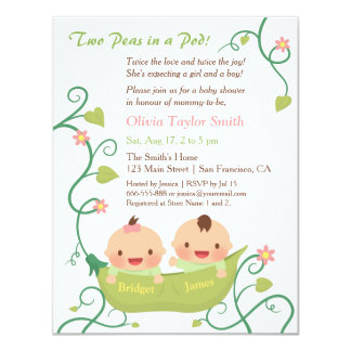 Two Peas in a Pod Twin Baby Shower with Names 11 Cm X 14 Cm Invitation Card