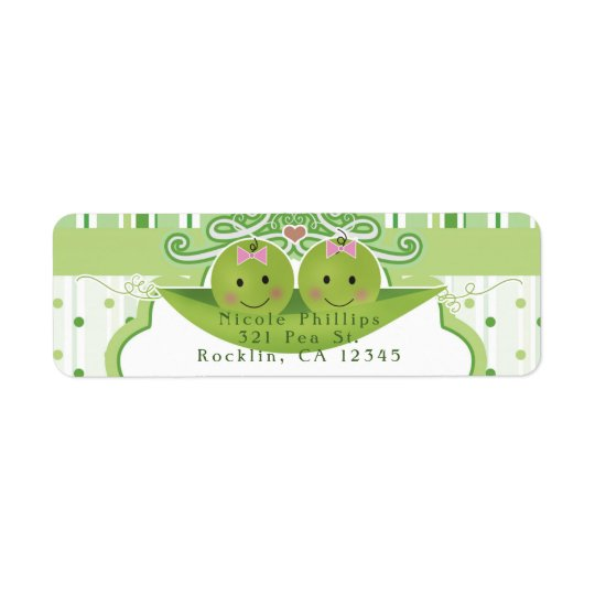 Two Peas in a Pod Twin Girl Baby Shower Invitation Return Address Label