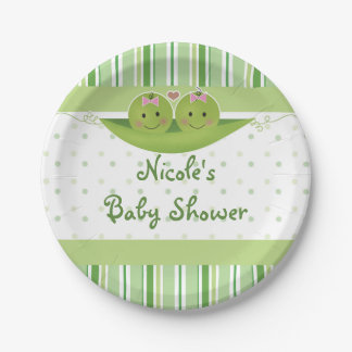 Two Peas in a Pod Twin Girls Baby Shower Custom Paper Plate